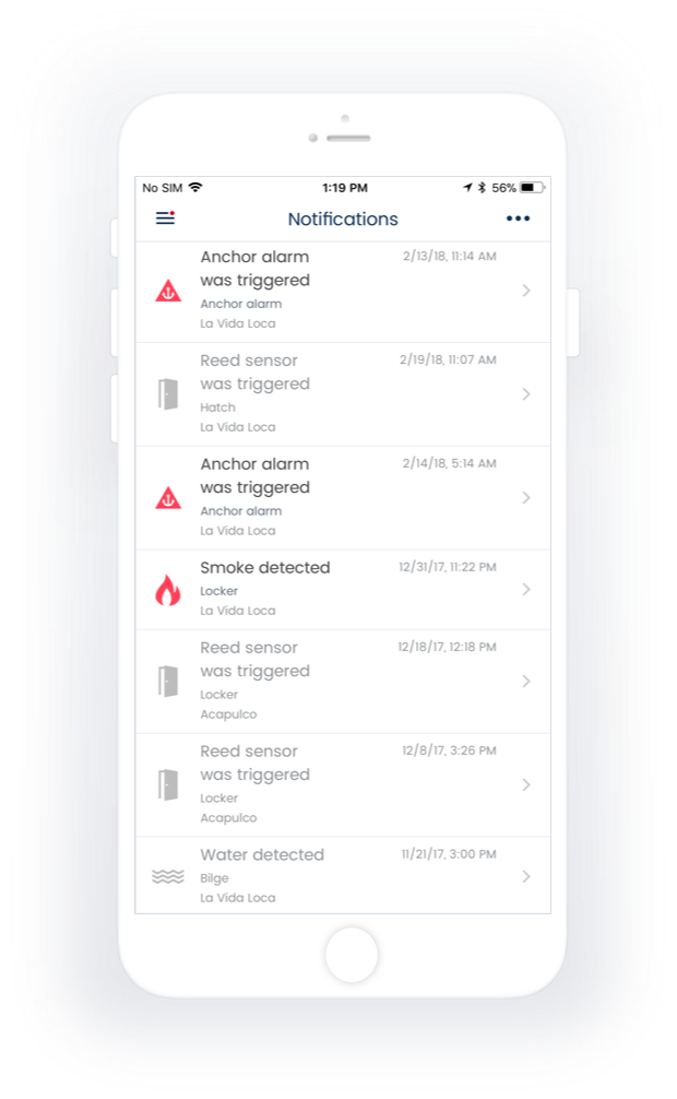 Status of sensors and notifications