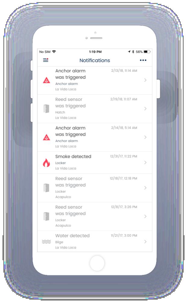 Status van sensoren en notificaties